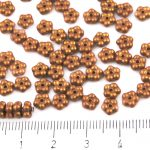 Forget-Me-Not Flower Czech Small Flat Beads - Gold Shine Amber Yellow Gold Matte Pearl - 5mm