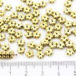 Forget-Me-Not Flower Czech Small Flat Beads - Metallic Gold Full - 5mm