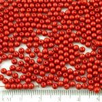 Round Czech Beads - Matte Metallic Lava Red - 3mm