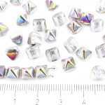 Pyramid Stud Two Hole Czech Beads - Crystal Purple Green Yellow Vitrail Half - 6mm