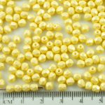 Round Faceted Fire Polished Czech Beads - Matte Pearl Topaz Yellow Cotton Candy - 4mm