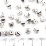 Pyramid Stud Two Hole Czech Beads - Metallic Silver Labrador Full - 6mm