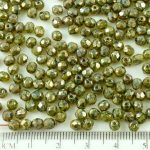 Round Faceted Fire Polished Czech Beads - Picasso Silver Crystal Striped Moonlight Green Opal - 4mm