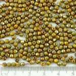 Round Faceted Fire Polished Czech Beads - Picasso Silver Opaque Citrine Yellow Lemon - 3mm