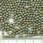 Round Faceted Fire Polished Czech Beads - Nebula Purple Opaque Beige Brown Ivory - 3mm