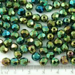 Round Faceted Fire Polished Czech Beads - Metallic Green Iris - 6mm