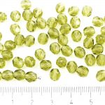 Round Faceted Fire Polished Czech Beads - Crystal Olive Olivine Green Clear - 6mm