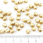 Round Faceted Fire Polished Czech Beads - Matte Metallic Bronze Pale Gold - 6mm