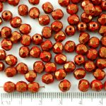 Round Faceted Fire Polished Czech Beads - Opaque Coral Red Terracotta Bronze - 6mm