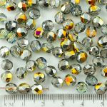 Round Faceted Fire Polished Czech Beads - Crystal Metallic Marea Gold Half - 6mm