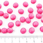 Round Faceted Fire Polished Czech Beads - Pink Rose Watermelon Silk Matte - 8mm