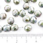 Round Faceted Fire Polished Czech Beads - Picasso Brown Opaque Blue Fern Green Luster - 8mm