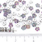 Forget-Me-Not Flower Czech Small Flat Beads - Crystal Dichroic Vitrail Green Half - 5mm