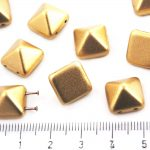Pyramid Stud Two Hole Czech Beads - Matte Metallic Bronze Pale Gold - 12mm