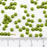 Round Czech Beads - Opaque Olivine Olive Green - 3mm