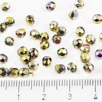 Round Faceted Fire Polished Czech Beads - California Green Purple Gold Half - 4mm