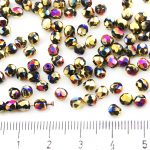 Round Faceted Fire Polished Czech Beads - California Purple Violet Gold Half - 4mm