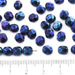 Round Faceted Fire Polished Czech Beads - Metallic Blue Purple Rainbow Iris - 6mm