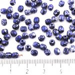 Round Faceted Fire Polished Czech Beads - Opaque Jet Black Granite Tweedy Blue Silver Patina Spotted - 4mm
