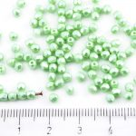Round Faceted Fire Polished Czech Beads - Pastel Pearl Light Chrysolite Green - 3mm