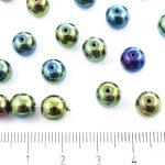 Round Czech Beads - Metallic Green Iris - 8mm