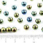 Round Czech Beads - Metallic Green Iris - 6mm