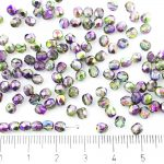 Round Faceted Fire Polished Czech Beads - Crystal Magic Metallic Purple Green Half - 4mm