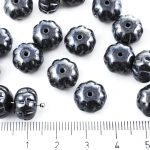 Squashed Melon Halloween Pumpkin Fruit Czech Beads - Metallic Opaque Jet Black Silver Hematite Luster - 11mm