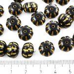 Squashed Melon Halloween Pumpkin Fruit Czech Beads - Opaque Jet Black Matte Gold Patina Wash - 11mm