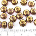 Squashed Melon Halloween Pumpkin Fruit Czech Beads - Metallic Purple Gold Luster - 11mm