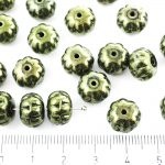 Squashed Melon Halloween Pumpkin Fruit Czech Beads - Metallic Green Luster - 11mm