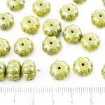 Squashed Melon Halloween Pumpkin Fruit Czech Beads - Opaque Citrine Yellow Lemon Blue Terracotta - 11mm